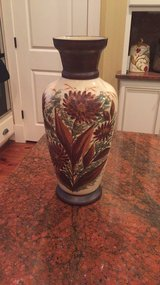 beautiful tall hand painted mantel vase late 1800's England in Beaufort, South Carolina