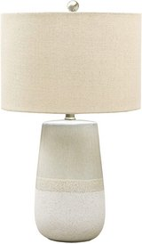 Signature Design by Ashley - Shavon Ceramic Table Lamp - Beige/White - New! in Plainfield, Illinois