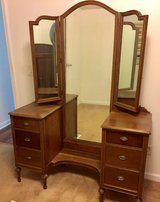 Antique 6-dresser with trifold mirror in Beaufort, South Carolina