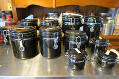 Oggi 11 Pieces Round Ceramic Canister Set with Spoons - Black ( in very good condition ) in Okinawa, Japan