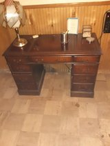 Vintage Mahogany Leather Top Executive Writing Desk in Chicago, Illinois