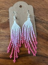 White and pink ombre beaded earrings in Converse, Texas