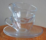 French glass big cups (2) for café au lait in Okinawa, Japan
