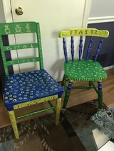 Chairs, painted, for young adults in Quantico, Virginia