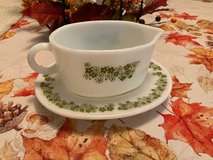 Pyrex Spring Blossom Gravy Boat with Underplate Green Floral Design Crazy Daisy Milk Glass Vintage in Houston, Texas