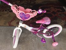 "16"" pink and purple princess bicycle with training wheels in Camp Lejeune, North Carolina"