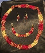 For the Ladies USMC Colors Necklace/Bracelet/Earrings full matching set made in Guatemala in Camp Pendleton, California