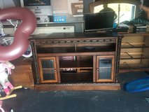 Large solid wood tv stand in Leesville, Louisiana