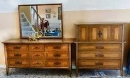 Matching Dresser Set - Classic Vertical Dresser with Mirror, Gentleman's Dresser, and Nightstands in Naperville, Illinois