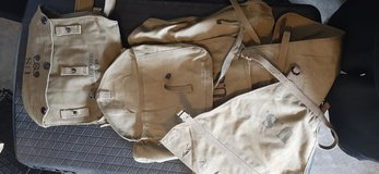 WW2 reenactor backpack (with tail) and gas mask bag in Fort Campbell, Kentucky