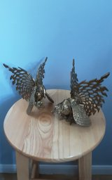 Brass roosters in Houston, Texas