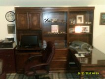 OFFICE DESK OAK  L STYLE ,3- SECTION SETUP , W, GLASS TOP ALL AROUND , 2-FILE CABNET , BOOK SHEL... in Batavia, Illinois