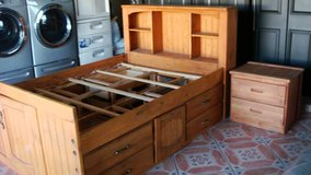 Solid Wood Full Size Captain bed with matching night stand ( Like new & in excellent condition) in El Paso, Texas