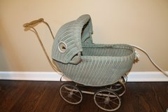 Vintage child's wicker stroller from the 1930's in St. Charles, Illinois