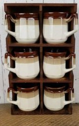 Vintage mugs with hanging rack in Beaufort, South Carolina