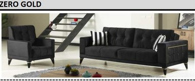United Furniture - Zero Gold Living Room Set in Black Velvet including delivery in Spangdahlem, Germany