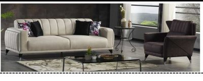 United Furniture - Polo Living Room Set Polo in Cream and Gray incl. delivery in Grafenwoehr, GE