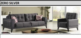 United Furniture - Zero Silver Living Room Set in Anthracite Velvet including delivery in Ansbach, Germany