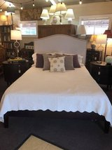 Queen Size Bed w/Linen Riveted Headboard in Fort Campbell, Kentucky