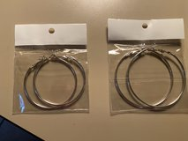 Sterling Silver hoop earrings 50-60 mm in Fort Leonard Wood, Missouri
