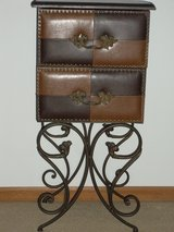 Leather like/wrought Iron Cabinet in Tinley Park, Illinois