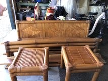Real Bamboo wood queen size headboard, footboard, with 2 end tables in Yucca Valley, California