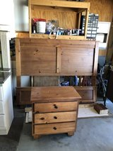 Queen size headboard with rails and hardware and night stand. in Yucca Valley, California