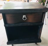 Hand finished, rustic mid-century side table in Joliet, Illinois
