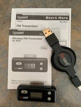 iPhone 4 (or iPod) Wireless FM Transmitter + Retractable Charging Cable in Oswego, Illinois
