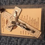 Cross Necklace Ornate Benedictine Silver and White Large IOB New in Kingwood, Texas
