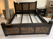 New queen bed frame w/ 2 night stands in Okinawa, Japan