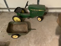 John Deere Child metal pedal tractor and trailer in Naperville, Illinois