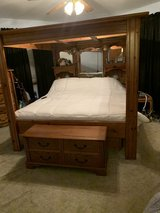 California King Bed Frame with canopy (mattress not included). Has storage drawers on sides in Bolingbrook, Illinois
