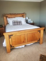 Queen bed frame, solid pine in Fort Bliss, Texas