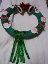 Christmas wreath  Bows bells red trucks santas 16 inch in Fort Hood, Texas