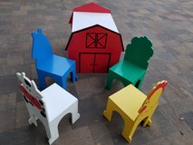 Barnyard kids wooden table + 4 chairs. in Vacaville, California