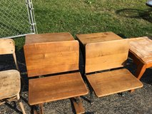 TwoAntique children's school desk with ink well and folding top in Joliet, Illinois