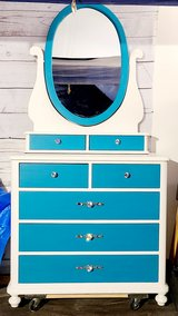 Refinished girls dresser and mirror with bling! in Naperville, Illinois