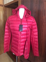 Armani red down jacket with hood size L brand new in Okinawa, Japan