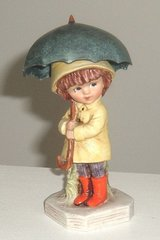 Vintage 1973 Moppets Fran Mar Gorham Girl in Raincoat and Galoshes with Umbrella Figurine in Morris, Illinois