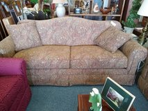2 tan/ brown paisley sofas by Bassett in Batavia, Illinois