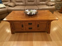 solid oak wood table & matching table set / living room table set in Algonquin, Illinois