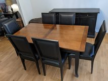 Crate & Barrel dining set - table with 6 chairs and sideboard/credenza/media console in Batavia, Illinois