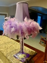 purple lamp w feather shade in Oswego, Illinois