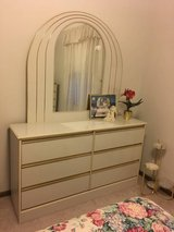 Beautiful Cream Bedroom Set - Dresser with Mirror Chest and Headboard - $350 in Sugar Grove, Illinois