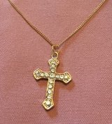 Cross Necklace Gold Inlaid Faceted Crystal Stones Dainty Gold Chain in Kingwood, Texas