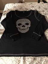 Women's Halloween Top-Black & Gray Stripes with Silver Skull in St. Charles, Illinois