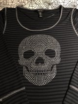 Women's Silver Skull Top -Black & Gray Stripes in St. Charles, Illinois