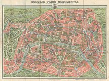 Framed ORIGINAL Antique Map of Paris Monuments 39 x 33 in Stuttgart, GE