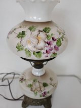 Beautiful Brown Floral Print Hurricane Lamp in Spring, Texas